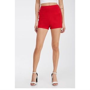 F21 High Waisted Red Shorts Side Zipper Size 28